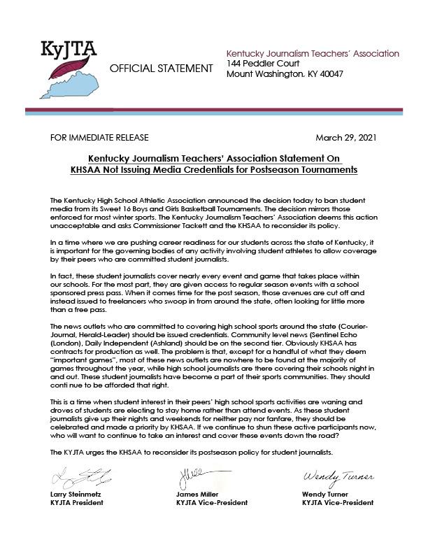 KYJTA Statement on KHSAA Student Media Postseason Ban